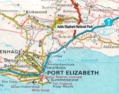 Addo Elephant trail run Map in the Eastern Cape