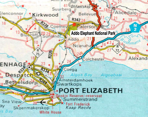 Addo Elephant trail run Map in the Eastern Cape